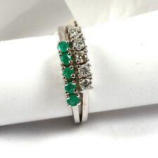 Ring in 585 Weißgold mit Smaragd und Brillant 0,25 ct.w.si