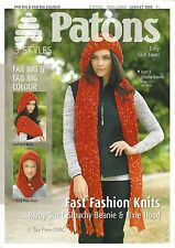 VAT Free KNITTING PATTERN ONLY Patons Ribby Scarf Slouchy Beanie Pixie Hood 3939