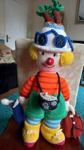 JEAN GREENHOWE KNITTED GODFREY GADABOUT TOURIST CLOWN DOLL THE RED NOSE GANG VGC