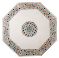 "48"" White Marble Coffee Table Top Pietra Dura Living Room Marquetry Decor Gifts"