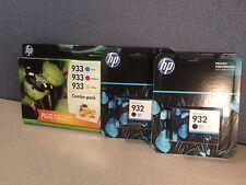 LOT Genuine HP 932 + 933 Ink Cartridges CN057AN B3B32FN Combo Pack Exp. 2015 /16