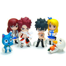6pcs set Anime Fairy Tail Natsu Happy Lucy Gray Erza Plue Figure Toy Cake topper