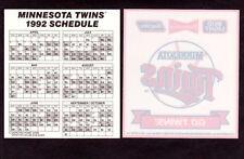 2 - Minnesota Twins 1992 Baseball Schedule Window Decal Stickers NEW Budweiser