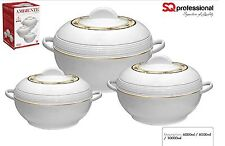 SQ Pro Ambiente Large Food Warmer/Hot Pot Set of Insulated Casseroles, 6, 8, 10L