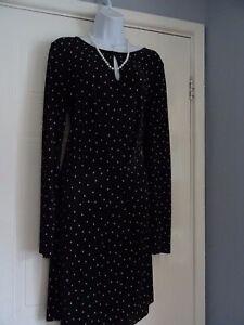 Stunning Ladies  Black White Heart Midi   Dress From Next   Size 14  New