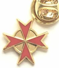Masonic Red Knights Templar Cross Gold Plated Enamel Lapel Pin Badge