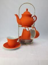 Home Kitchen Tea Pot Set 6 Cups and 6 Saucers Ceramic with Metal Holder