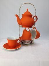 CASA CUCINA Teiera Set 6 tazze e 6 piattini in ceramica con supporto in metallo