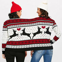Two Person Ugly Sweater Xmas Couples Pullover Novelty Christmas Blouse Top Shirt