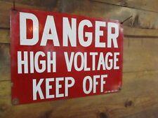 Vtg Metal PORCELAIN enamel DANGER HIGH VOLT Sign Industrial Warehouse Factory