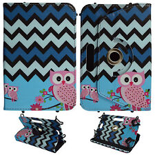 OWL BLUE BLACK CHEVRON FOR UNIVERSAL 6 INCH FOLIO CASE STAND TABLET COVER