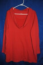 Women's LANDS' END Long Salmon Sweatshirt Cowl Neck Size M 10-12