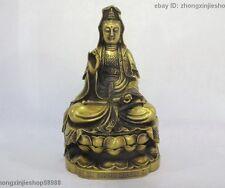 """15""""China Buddhism Brass Copper Kwan-Yin Guan Yin Quan Yin Bodhisattva Statue"""