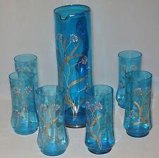 ANTIQUE HP & ENAMELED BLUE COBALT GLASS WATER SET 7 PCS GOLD TRIM FLORAL GLOWS