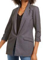 INC Women's Blazer Jacket Gray Size Large L Heathered Notch-Collar $79 #148