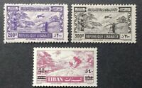LEBANON 1945/ 1959, SKIING, AIR-POST, LOT OF 3 STAMPS, MH/MNH, FREE SHIPPING!!!