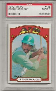 1972 TOPPS #435 REGGIE JACKSON, PSA 9 MINT, HOF, OAKLAND ATHLETICS,CENTERED L@@K