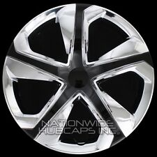 "16"" Set of 4 Chrome Black Wheel Covers Snap On Hub Caps fit R16 Tire & Steel Rim"