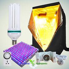 Hydroponics Setup 130w CFL Bulb LED 225 Panel 1x1x2m Tent Grow Room Kit Timer