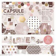 "Papermania 6x6 ""Scrapbooking Capsule Collection 32 Hojas geométricas Mocha De Papel"