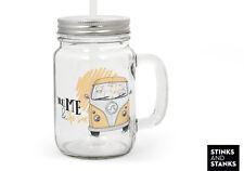 Trinkglas mit Strohhalm Glas Bus Bulli Auto You & Me TG003