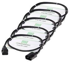 5x Cable de Red Conector IEC Extension Alimentacion DJ PA Efecto 2,5m Set Negro