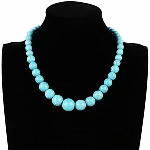 Women's Stunning 6-16mm Natural Turquoise Necklace For Women