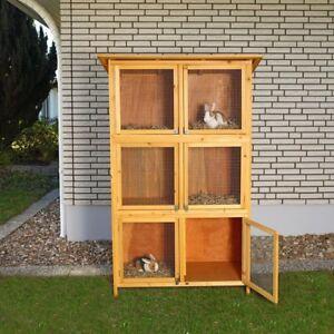 Hasenkäfig 6 Boxen Kaninchenstall Holz Freigehege Hasenstall Kleintierstall XXL