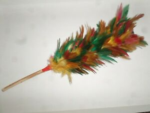 hen and rooster real chicken feathers duster