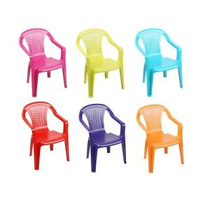 Plastic Childrens Chairs Coloured Nursery Indoor Outdoor Garden Kids Tea Party