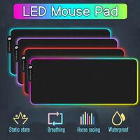 RGB LED TAPPETINO GAMING MOUSE PAD USB SCRIVANIA ANTISCIVOLO IMPERMEABILE PER