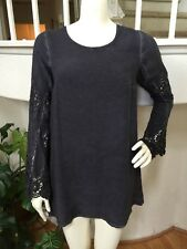 Black Swan Gray Viscose/Rayon A-Line Tunic Dress w/ Crochet Lace Sleeves S NEW!