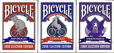 3 decks BICYCLE 2008 Election PLAYING CARDS republican democrat independant