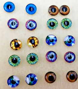 Glass Cabochons - Mixed Pairs EYES - 20 x 10mm Diametre Round