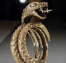 Bronze Adjustable King Cobra Biker Ring Custom Size Venomous Snake Handmade R94b