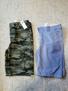 Abercrombie Kids boys lot of 2 shorts blue and camo size 15/16 NWT