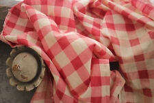 Printed Check fabric red and pink 1860 cotton Antique French rare w/ hand mends