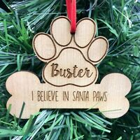 Personalised Christmas Tree Pet Dog Puppy Bone Decoration Xmas Ornament Bauble
