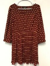 XXI Women's Ruffles Sheer Dress Tunic Blouse Polka Dot 3/4 Sleeves Size L