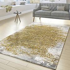 Designer Teppich Wohnzimmer Kurzflor Teppich Florale Ornamente Grau Gold  Gelb