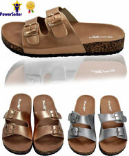 Womens Girls Slip On Cushioned Footbed Cork Flip Flops Mules Sandals Buckle Size