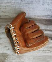 Vintage 5 Split Finger Hutch Cowhide Baseball Mitt Glove Lark Little Leaguer
