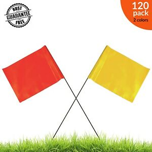 Marking flags Small flags Yard flags 120 count 2 color pack Flo Orange & Yellow