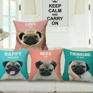 "Home Decor 18"" Cotton Linen Waist Cushion Cover Pillow Case Car Sofa Bed Pug Dog"