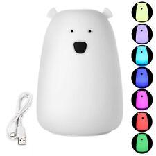 7-Color Changing Cute Silicone LED Night Light Lamp Polar Bear Shape Tap Control