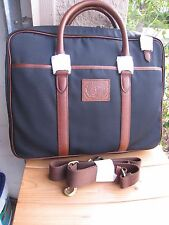 NW RALPH LAUREN N.blue/ Black commuter briefcase messenger  Canvas /leather