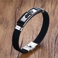 Black Cross Men's Bracelet Silicone Bangle Cuff Christ Prayer Religious Jewelry