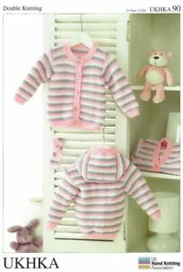 UKHKA 90 Kids Striped Cardigan Double Knitting Pattern 31 - 56cm Girls Boys