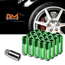 M12X1.5 Green JDM Open-End Acorn Hex Wheel Lug Nut+Extension 25mmx60mm Tall 20Pc