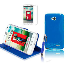 BLUE  Wallet 4in1 Accessory Bundle Kit Case Cover For LG L70